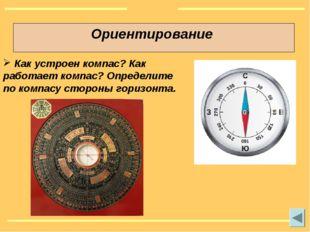 Ориентирование Как устроен компас? Как работает компас? Определите по компасу