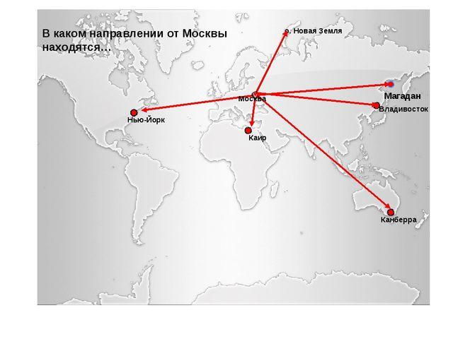 Владивосток о. Новая Земля Нью-Йорк Каир Канберра Москва В каком направлении...