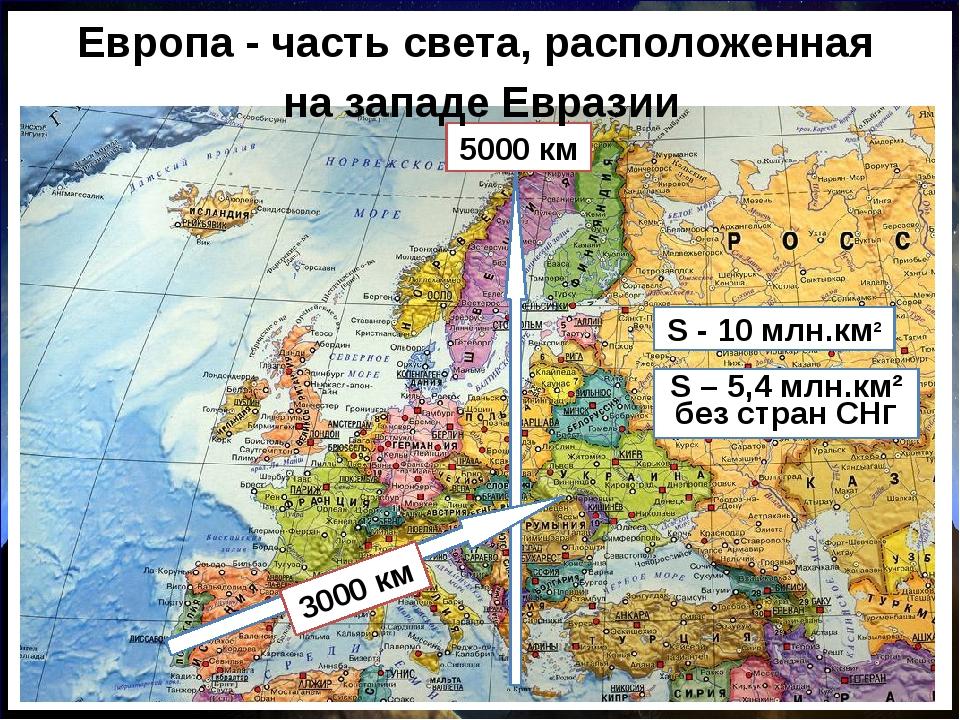 5000 км Европа - часть света, расположенная на западе Евразии S - 10 млн.км²...
