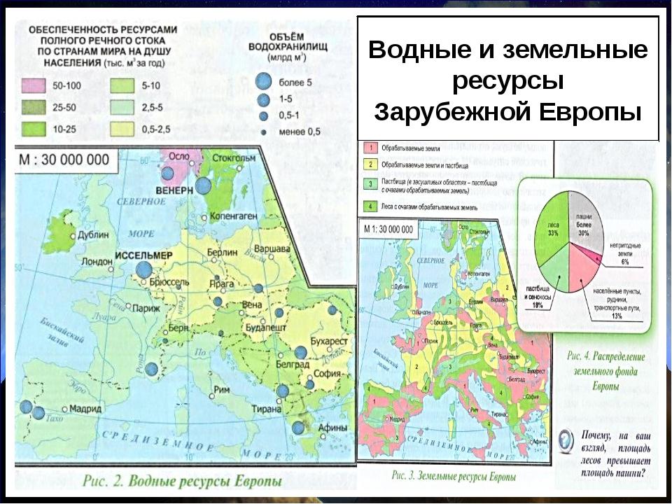 Водные и земельные ресурсы Зарубежной Европы Природные ресурсы Водные Значите...
