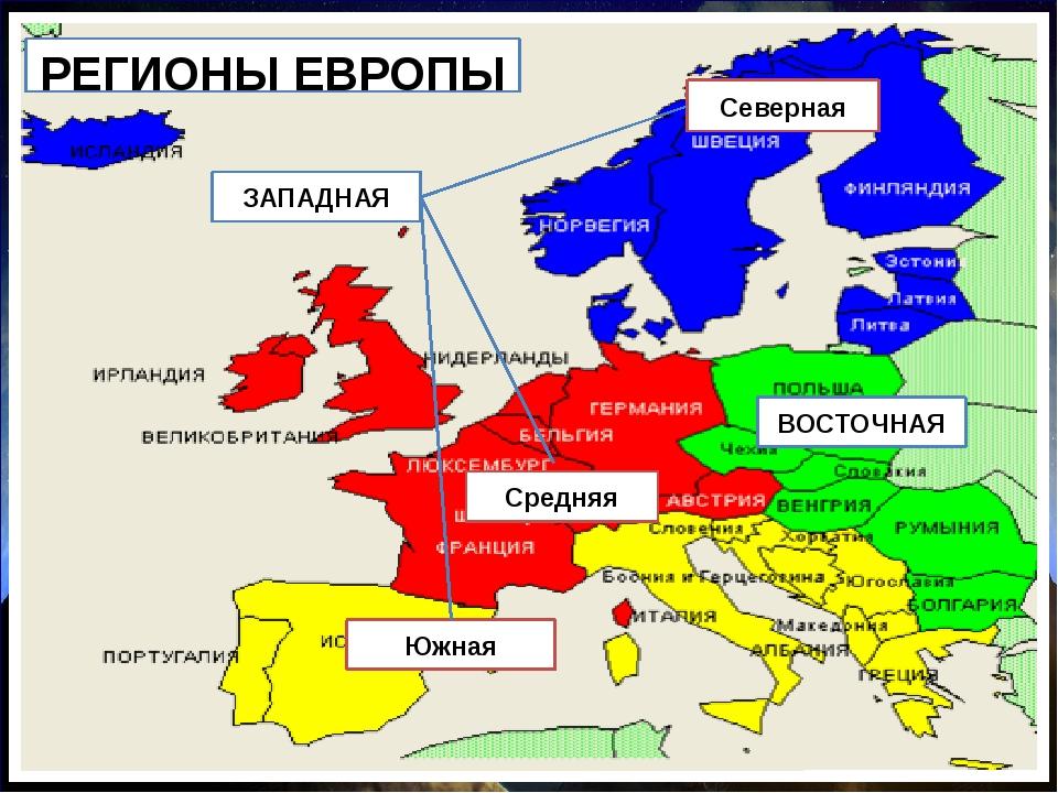 Северная ВОСТОЧНАЯ РЕГИОНЫ ЕВРОПЫ Южная Средняя ЗАПАДНАЯ