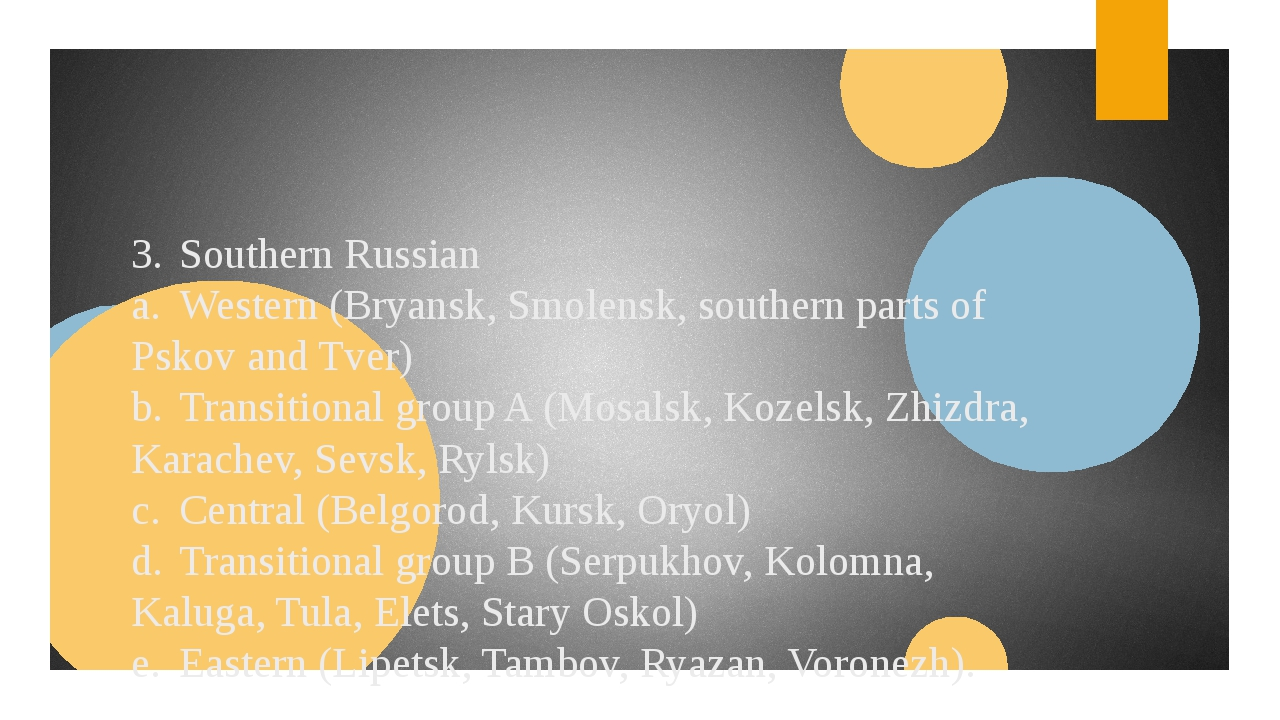 3.Southern Russian a.Western (Bryansk, Smolensk, southern parts of Pskov an...
