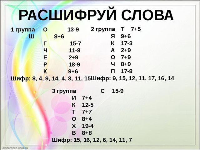 РАСШИФРУЙ СЛОВА 1 группа О 13-9  Ш 8+6 Г 15-7 Ч 11-8 Е 2+9 Р 18-9 К 9+6 Шифр...