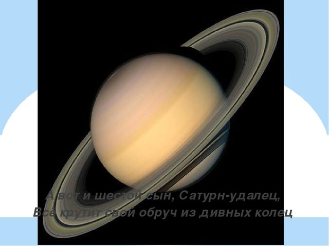 А вот и шестой сын, Сатурн-удалец, Всё крутит свой обруч из дивных колец