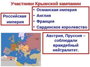 Участники Крымской кампании Российская империя Османская империя Англия Франц