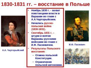 1830-1831 гг. – восстание в Польше Ноябрь 1830 г. - захват повстанцами власти