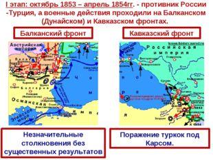 I этап: октябрь 1853 – апрель 1854гг. - противник России -Турция, а военные д