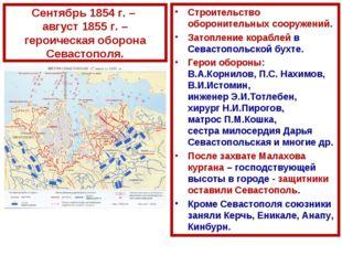 Сентябрь 1854 г. – август 1855 г. – героическая оборона Севастополя. Строител
