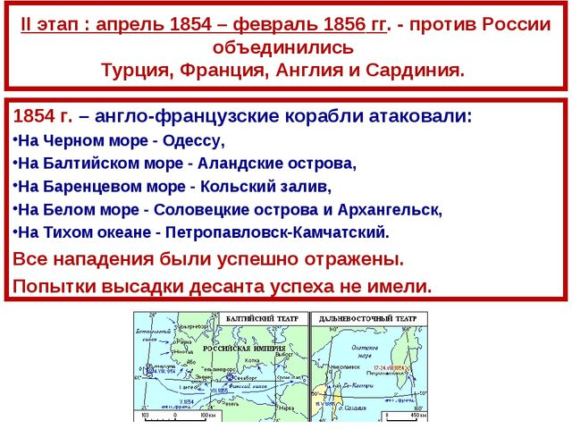II этап : апрель 1854 – февраль 1856 гг. - против России объединились Турция,...