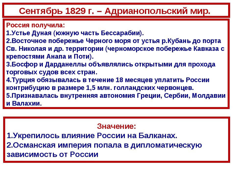 Сентябрь 1829 г. – Адрианопольский мир. Россия получила: Устье Дуная (южную ч...