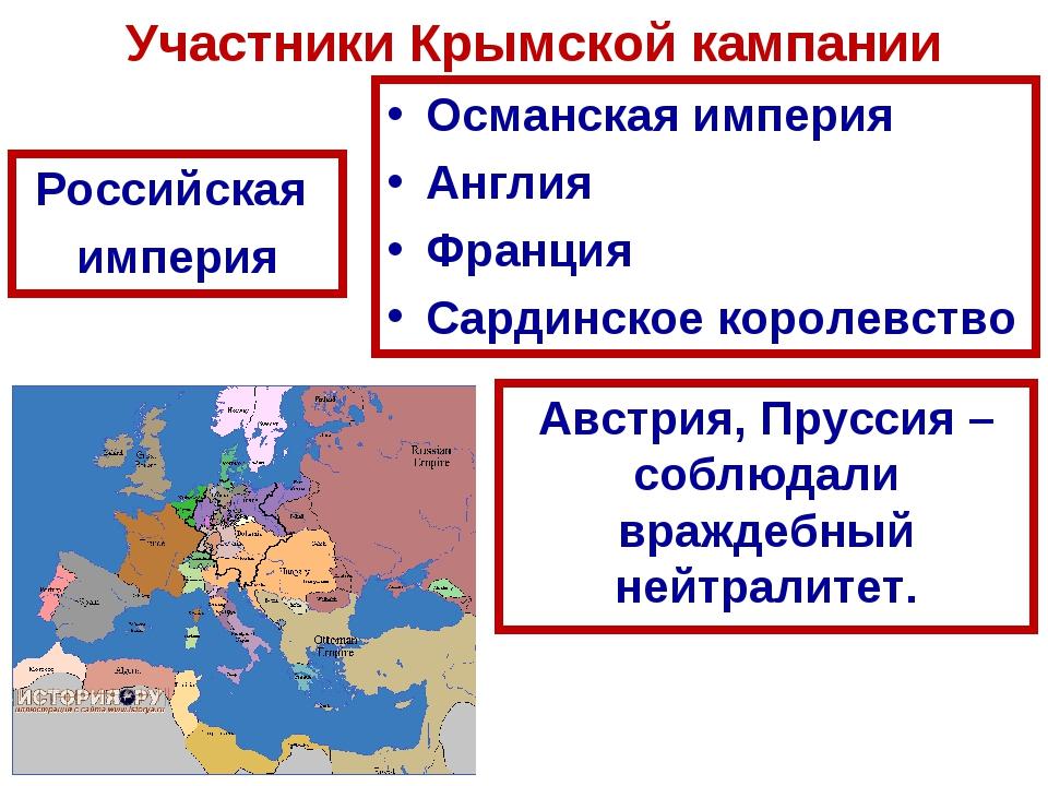 Участники Крымской кампании Российская империя Османская империя Англия Франц...