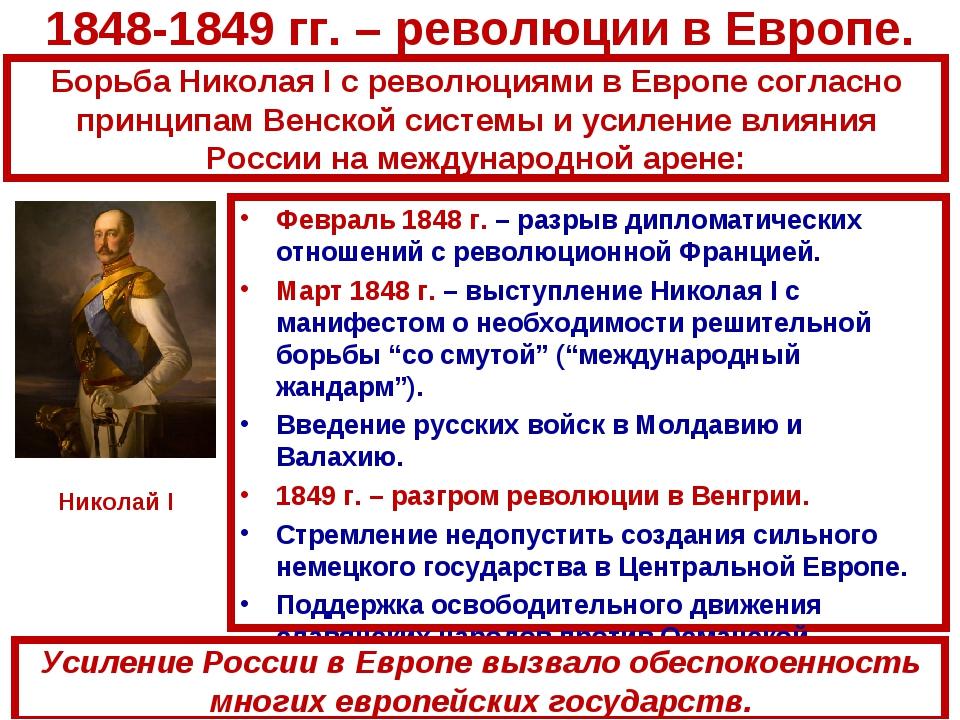 1848-1849 гг. – революции в Европе. Февраль 1848 г. – разрыв дипломатических...