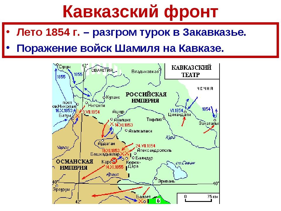 Кавказский фронт Лето 1854 г. – разгром турок в Закавказье. Поражение войск Ш...
