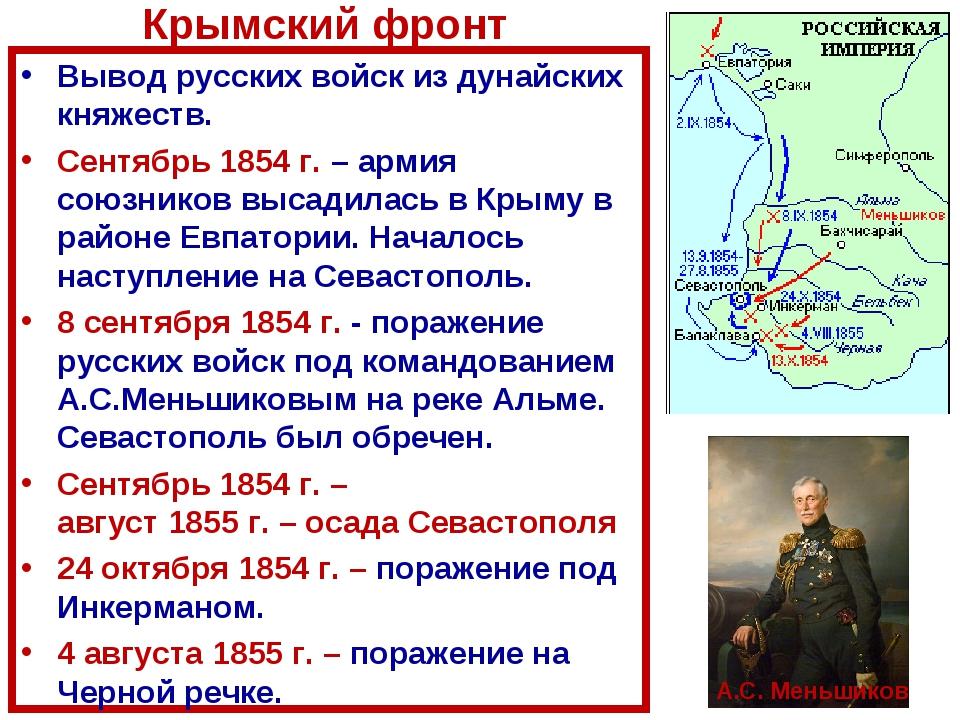 Вывод русских войск из дунайских княжеств. Сентябрь 1854 г. – армия союзников...