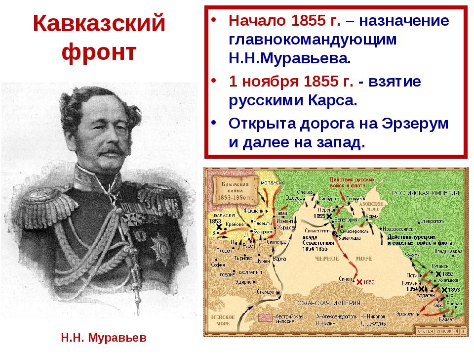 Кавказский фронт Начало 1855 г. – назначение главнокомандующим Н.Н.Муравьева....