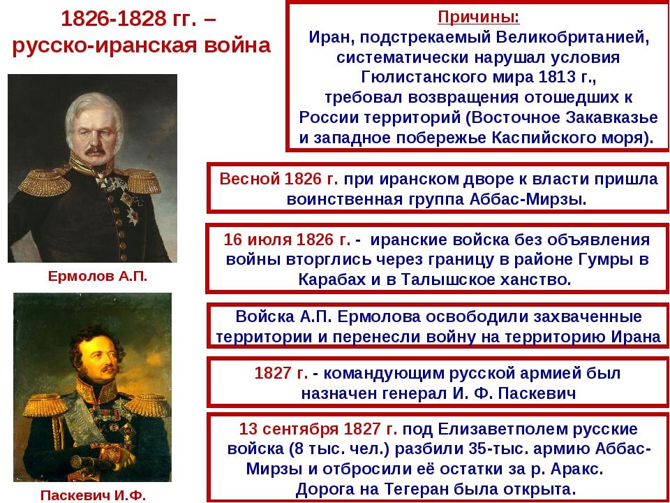 1826-1828 гг. – русско-иранская война Причины: Иран, подстрекаемый Великобрит...