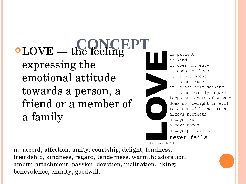 CONCEPT LOVE — the feeling expressing the emotional attitude towards a perso...