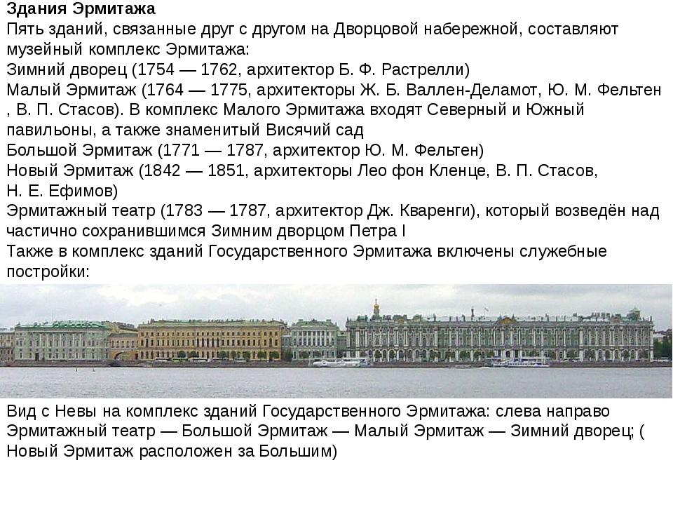 Здания Эрмитажа Пять зданий, связанные друг с другом на Дворцовой набережной,...
