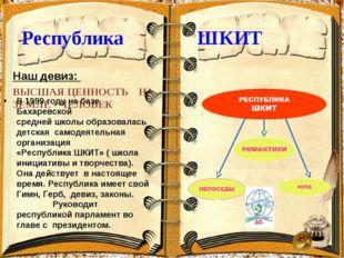 Республика ШКИТ Наш девиз: ВЫСШАЯ ЦЕННОСТЬ НА ЗЕМЛЕ - ЧЕЛОВЕК В 1999 году на