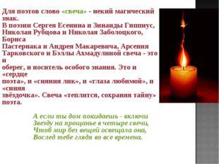Для поэтов слово «свеча» - некий магический знак. В поэзии Сергея Есенина и