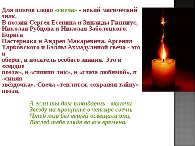 Для поэтов слово «свеча» - некий магический знак. В поэзии Сергея Есенина и...