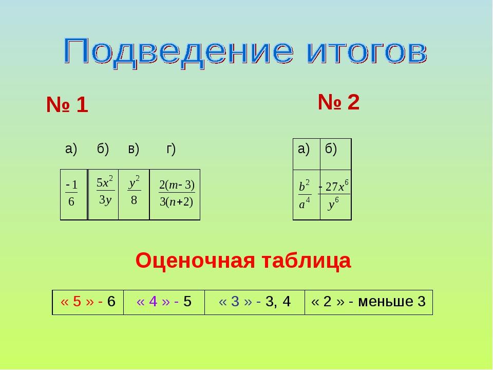 № 1 № 2 Оценочная таблица а)  б)  в) г)  а)б)  « 5 » - 6« 4 » - 5...