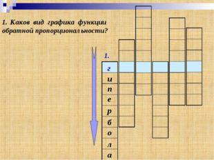 1. г Каков вид графика функции обратной пропорциональности? и е п а л о б р