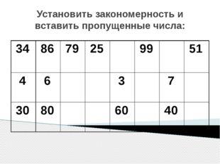 Установить закономерность и вставить пропущенные числа: 34 86 79 25 99 51 4 6