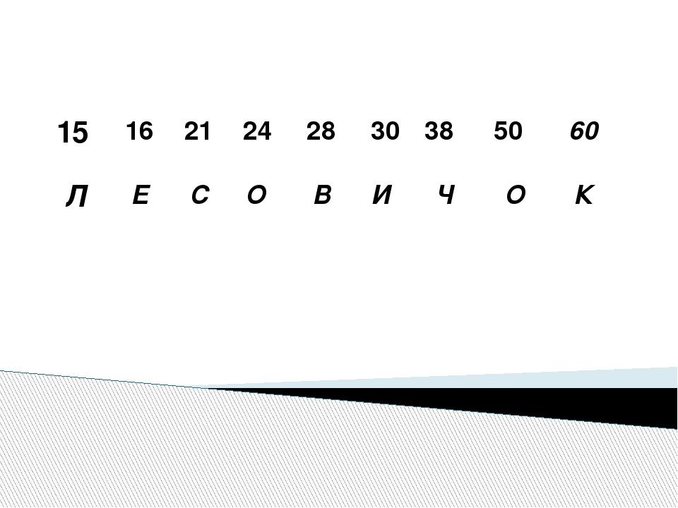 15 Л 16 Е 21 С 24 О 28 В 30 И 38 Ч 50 О 60 К