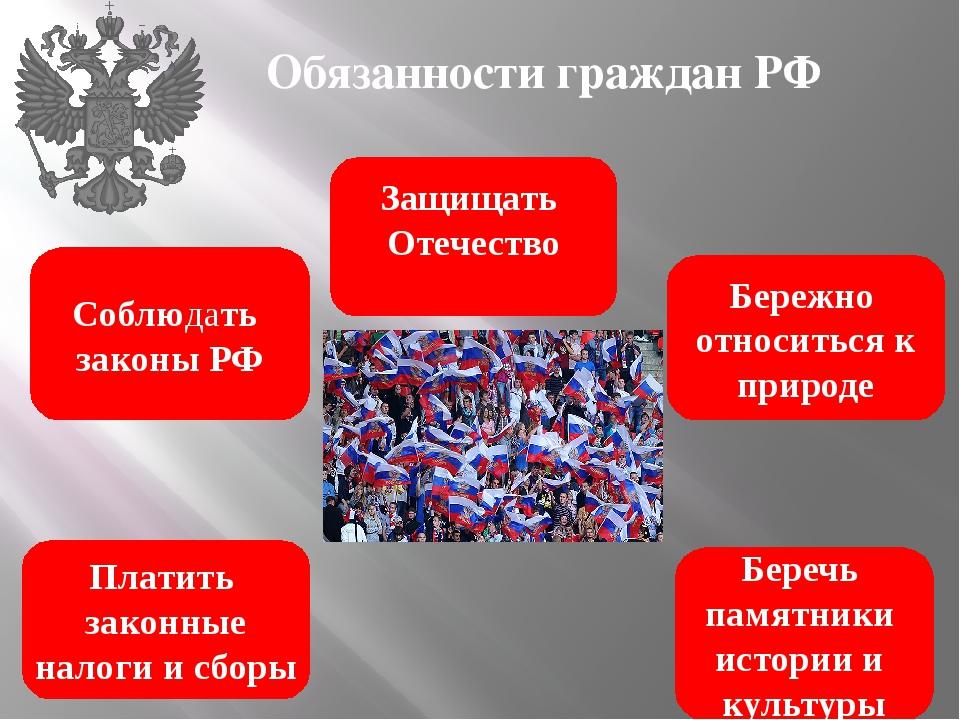 Обязанности граждан РФ Соблюдать законы РФ Платить законные налоги и сборы Бе...
