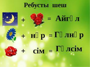 + + + нұр сім = = = Айгүл Гүлнұр Гүлсім Ребусты шеш