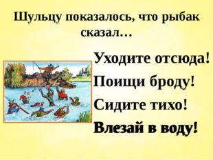 Шульцу показалось, что рыбак сказал… Уходите отсюда! Поищи броду! Сидите тихо