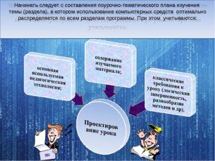 Начинать следует с составления поурочно-тематического плана изучения темы (р