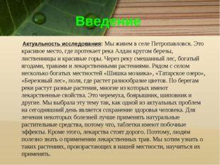 Введение Актуальность исследования: Мы живем в селе Петропавловск. Это красив