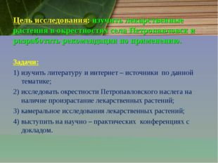 Цель исследования: изучить лекарственные растения в окрестностях села Петропа