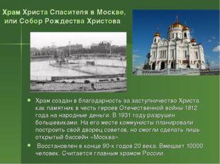 Храм Христа Спасителя в Москве, или Собор Рождества Христова Храм создан в бл