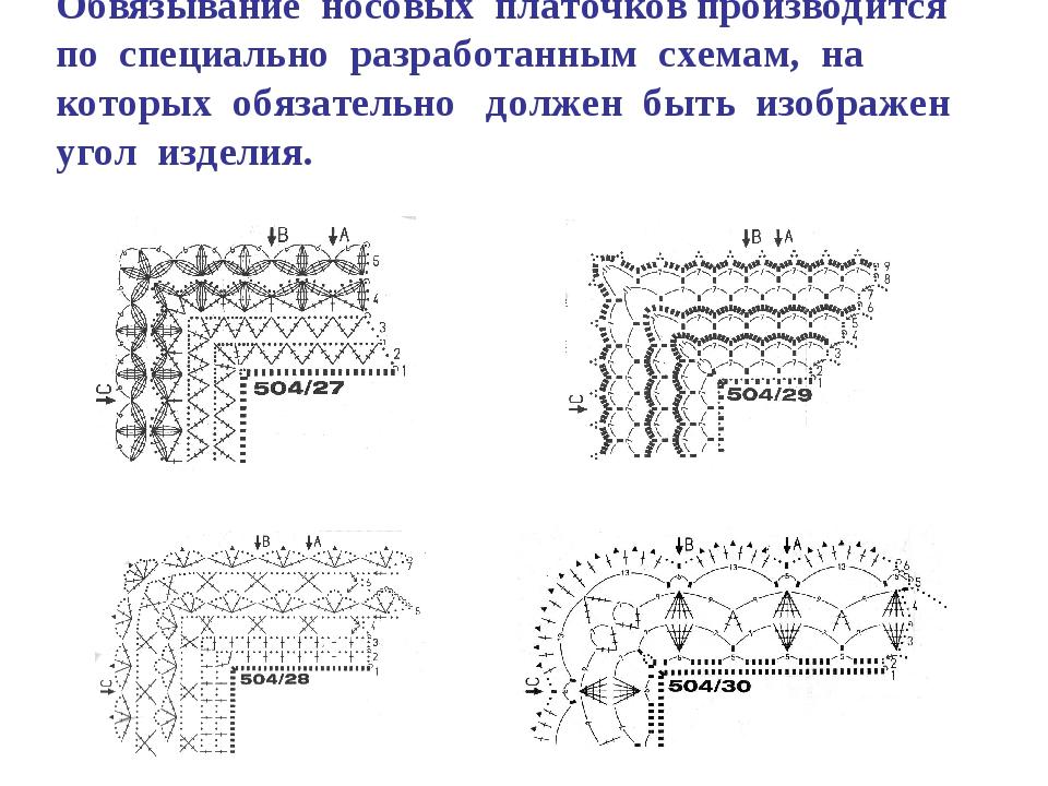 Обвязывание носовых платочков производится по специально разработанным схема...
