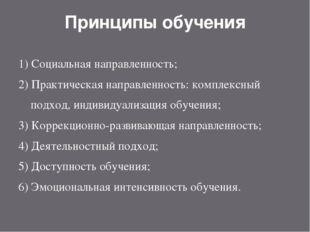 Принципы обучения 1) Социальная направленность; 2) Практическая направленност
