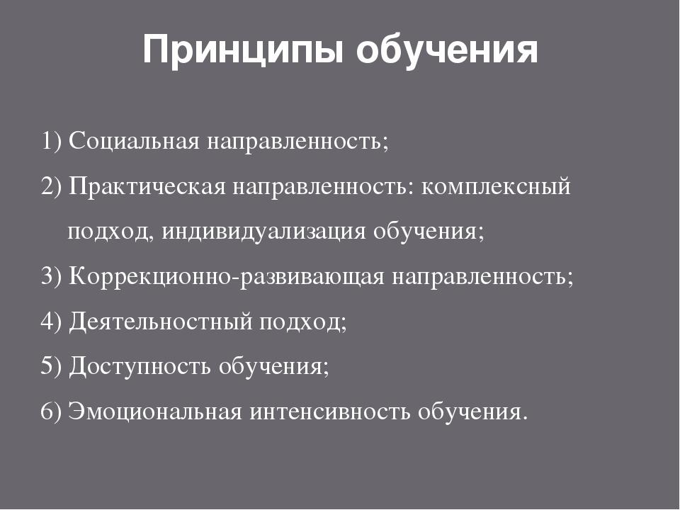Принципы обучения 1) Социальная направленность; 2) Практическая направленност...