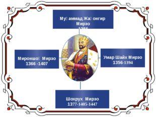 Умар Шайх Мирзо 1356-1394 Муҳаммад Жаҳонгир Мирзо 1356 Мироншоҳ Мирзо 1366 -