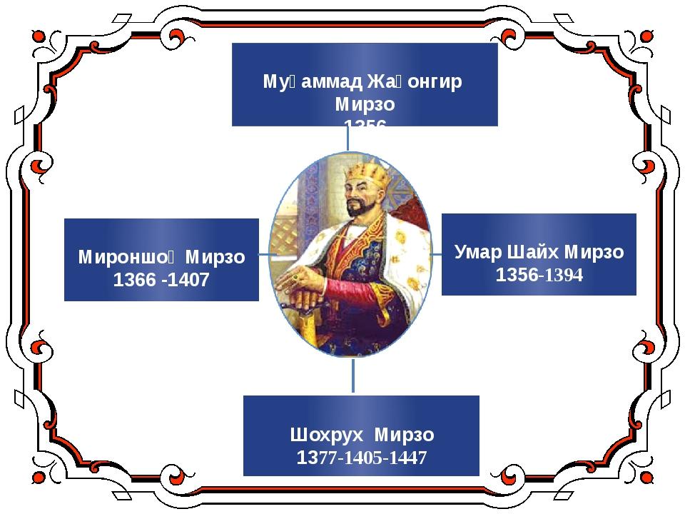 Умар Шайх Мирзо 1356-1394 Муҳаммад Жаҳонгир Мирзо 1356 Мироншоҳ Мирзо 1366 -...