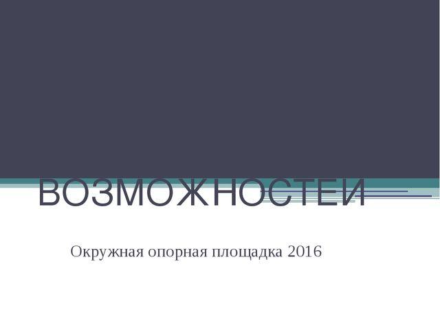 МАЛАЯ АКАДЕМИЯ БОЛЬШИХ ВОЗМОЖНОСТЕЙ Окружная опорная площадка 2016