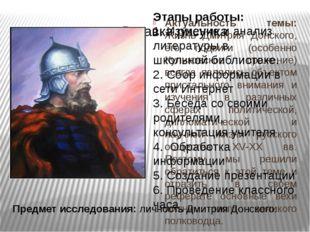 Актуальность темы: Жизнь Дмитрия Донского, его подвиги (особенно Куликовское