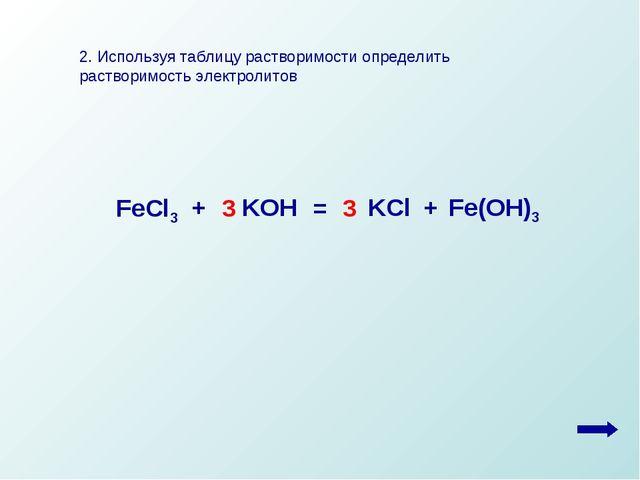 2. Используя таблицу растворимости определить растворимость электролитов