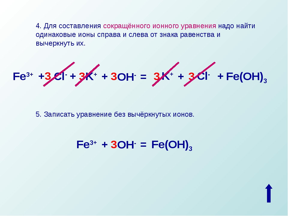 4. Для составления сокращённого ионного уравнения надо найти одинаковые ионы...