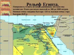 Поверхность Египта не всюду равнинная, местами она холмистая. Плато достигае