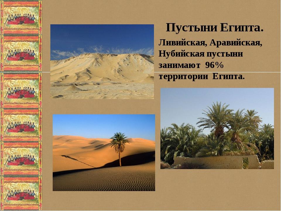 Пустыни Египта. Ливийская, Аравийская, Нубийская пустыни занимают 96% террит...