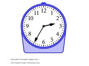 Какое время показывают каждые часы? Как это время покажут электронные часы.