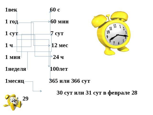 1век 60 с 1 год 60 мин 1 сут 7 сут 1 ч 12 мес 1 мин 24 ч 1неделя 100лет 1меся...
