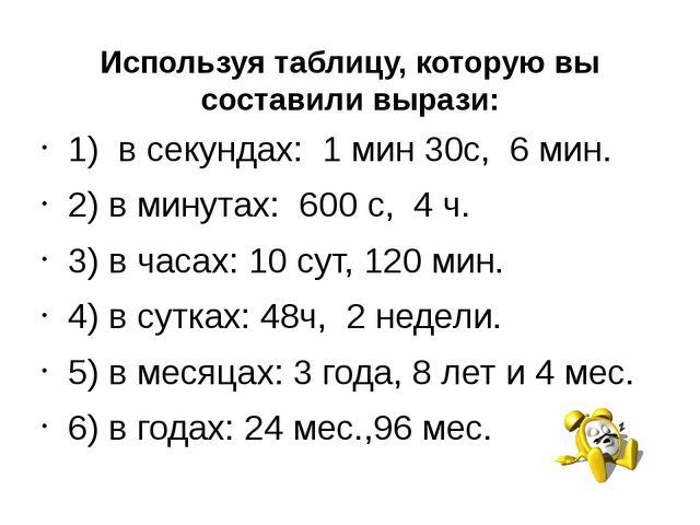 Используя таблицу, которую вы составили вырази: 1) в секундах: 1 мин 30с, 6 м...